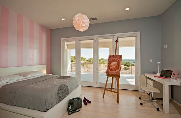 view in gallery grey and white bedroom with pink striped wall by cornerstone architects