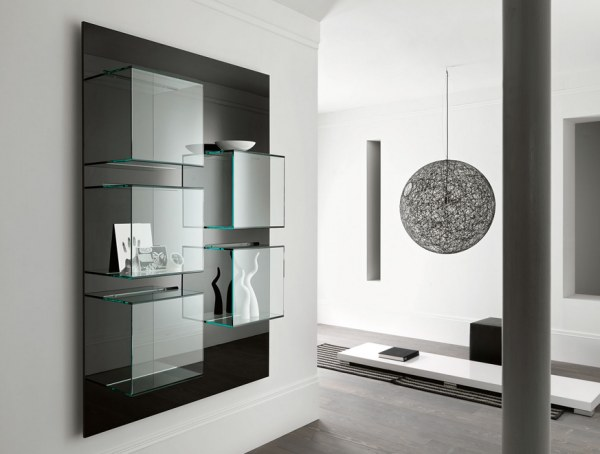 modern Italian glass and lacquer bookcase