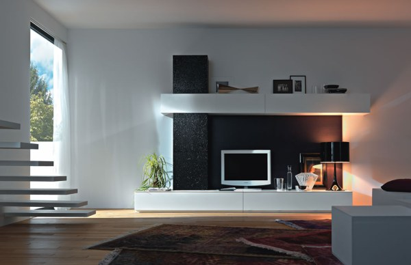 modern white Italian wall unit
