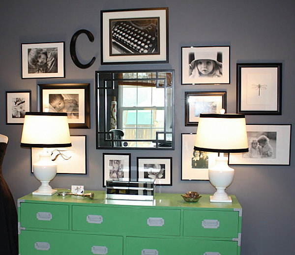 monogrammed family wall of photos