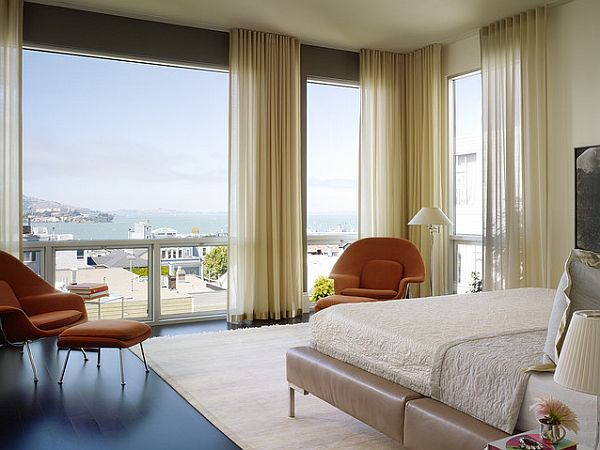nice views bedroom with stylish curtains