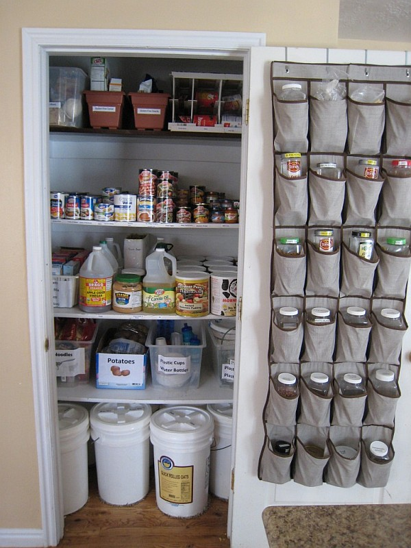 pantry organizing - shoe rack storage on the door