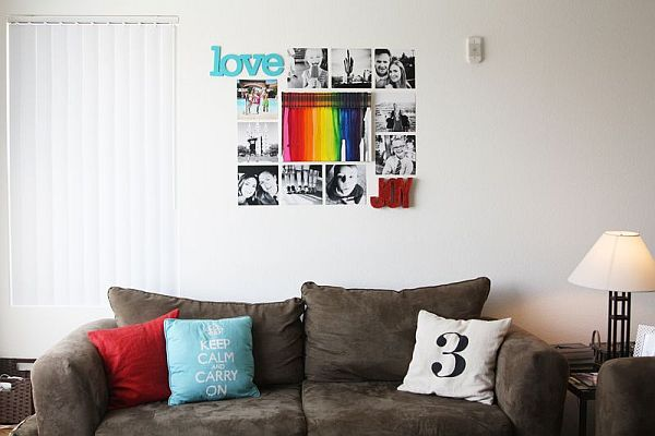 pictures on the wall and melted crayon art