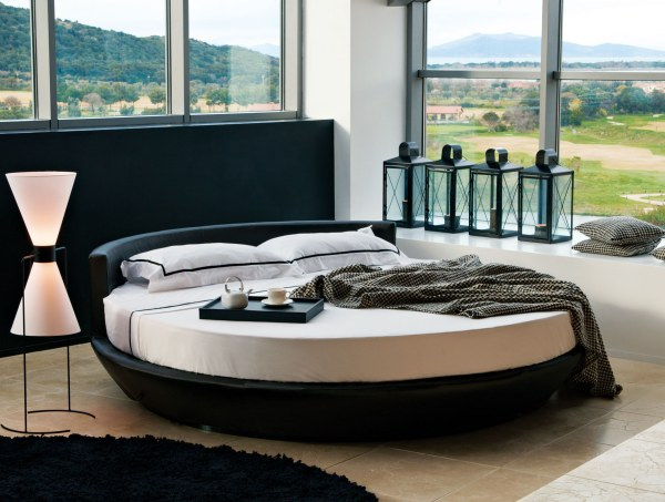 round Italian leather bed