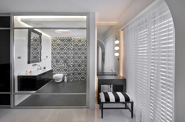 sleek minimalist black vanity for modern bathroom