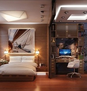 Travel inspired bedroom with fancy home office
