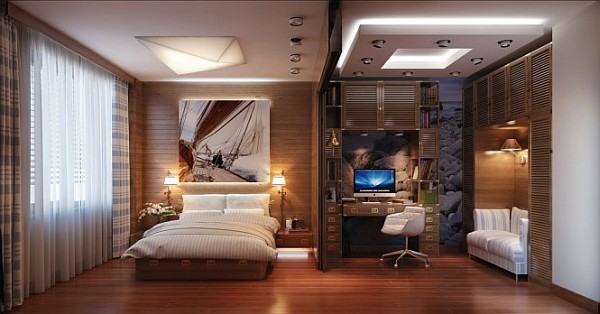travel inspired bedroom with fancy home office Travel Inspired Bedroom Designs Are Sophisticated and Elegant