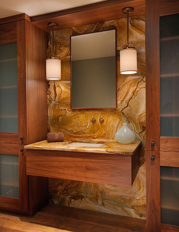 vanity with minimalist wood cabinet and stone slab