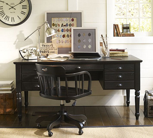 Vintage style office desk decoist - Pottery barn office desk ...
