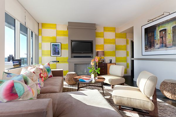 white and yellow wall in comfy living room