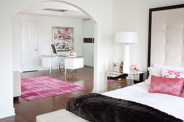 White Bedroom With Pink Accents Decoist