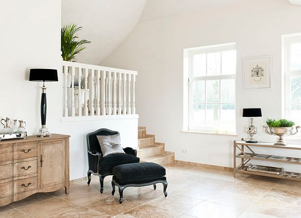 white home with black stlylish lampshades