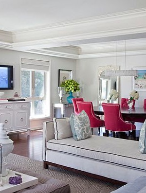 white traditional living room with pink accesory furniture