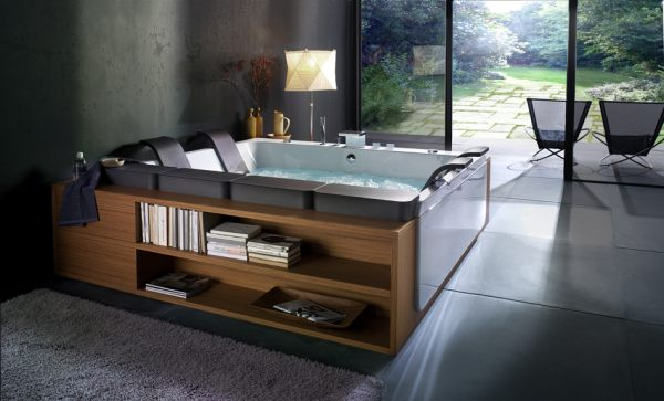 A bathtub with built-in shelving