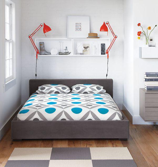 A bright geometric bedroom