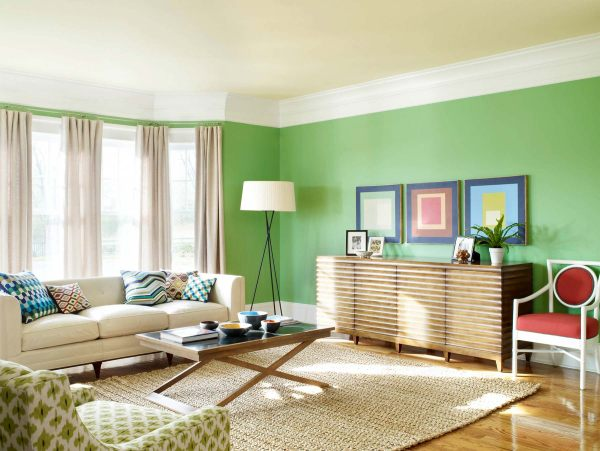 Elegant View In Gallery A Bright Green Living Room