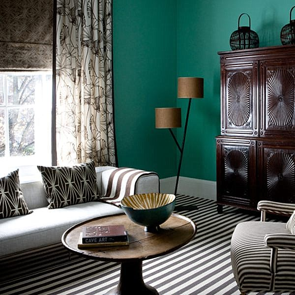 a bright teal living room decoist