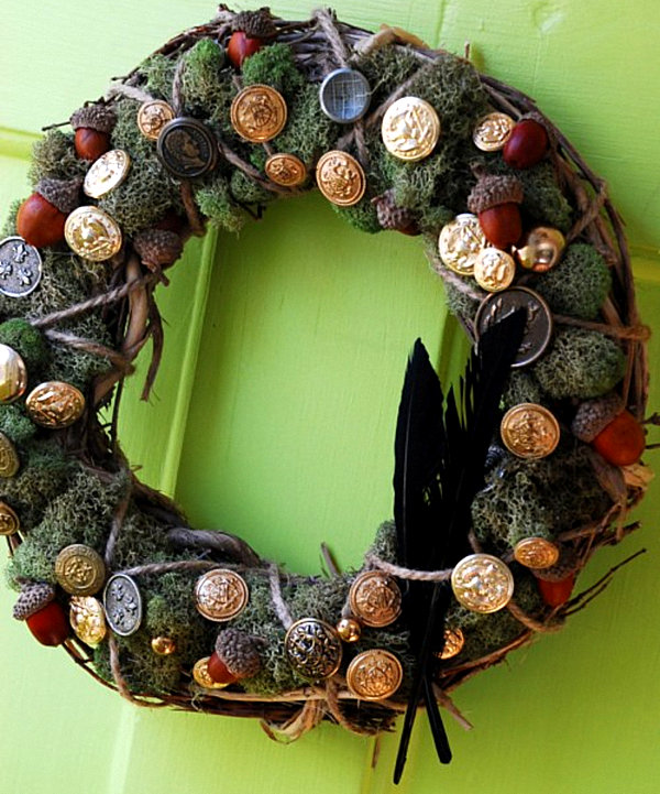 A button and moss autumn wreath