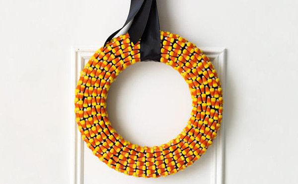A candy corn wreath