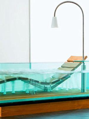 A clear rectangular bathtub