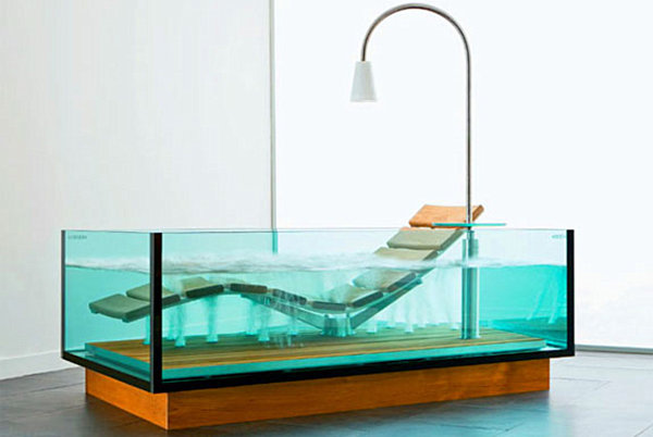 A clear rectangular bathtub