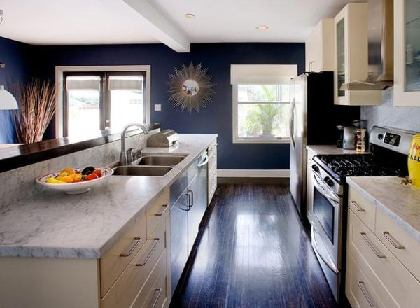 A navy blue kitchen