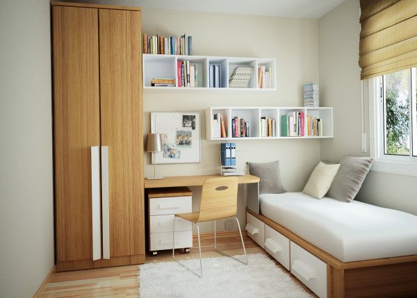 A compact bedroom made of natural materials