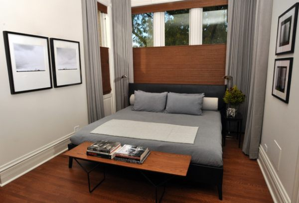 view in gallery a compact modern bedroom