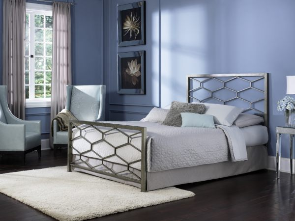 A contemporary bed with a hexagon design