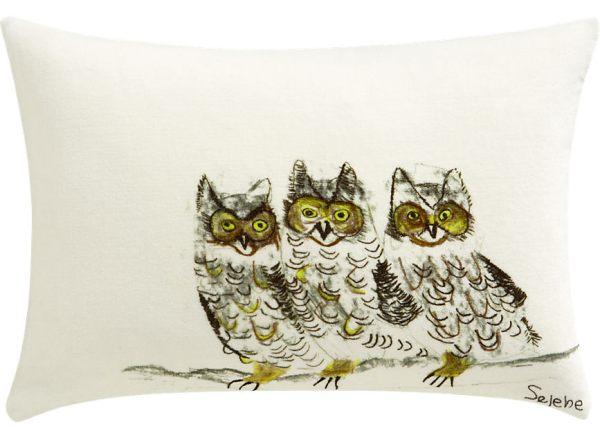 A contemporary owl pillow