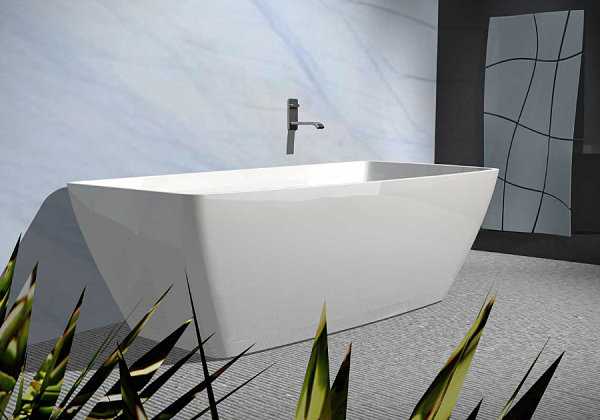 A contemporary white rectangular tub