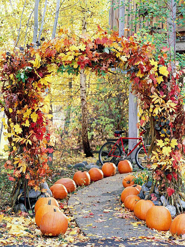 A garden path lined with pumpkins