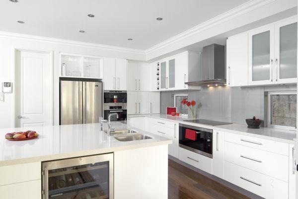 A glossy white kitchen