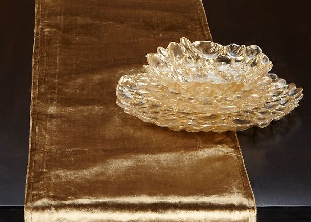 A gold table runner