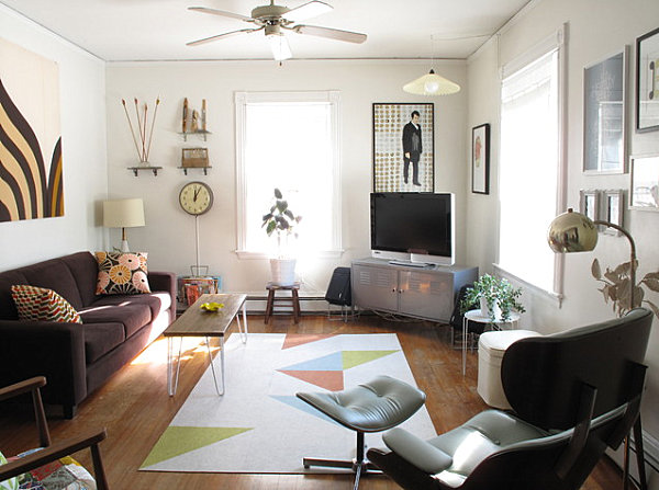 A living room showcasing vintage and new finds