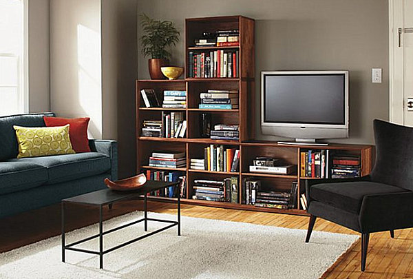 living room with a large bookshelf