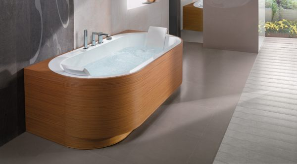 A long bathtub with round edges