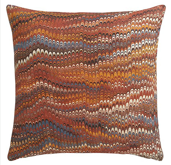 A marbleized pillow in fall colors