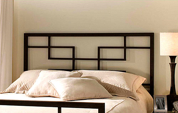 this modern black metal headboard from hb furniture uses a weave