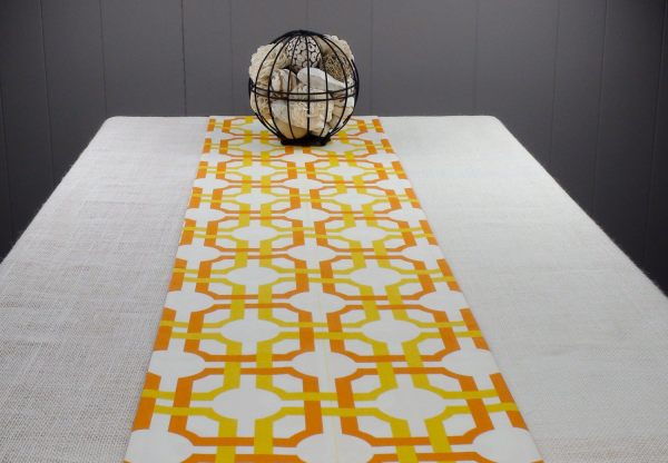 A modern table runner in autumn colors