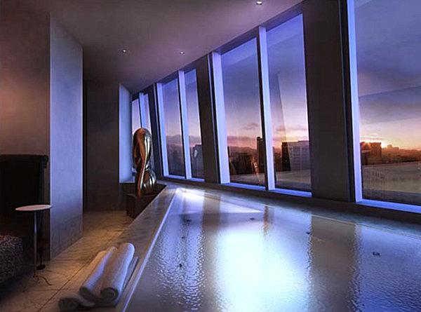 A penthouse infinity tub