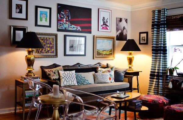 A room filled with art and patterns
