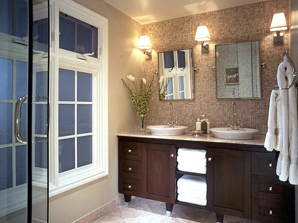 Bathroom lighting fixtures and vessel sink vanity