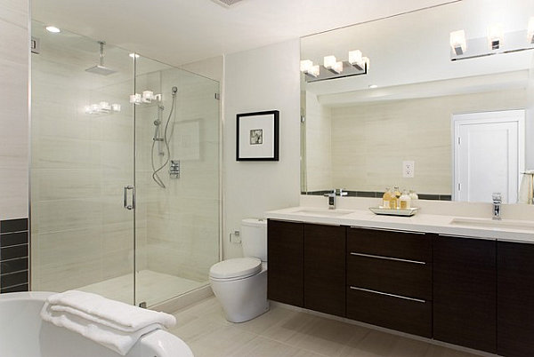 Modern Bathroom and Vanity Lighting Solutions:View in gallery A series of square bulbs creates vanity lighting in a modern  bathroom,Lighting