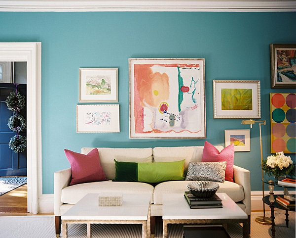 A soothing blue living room