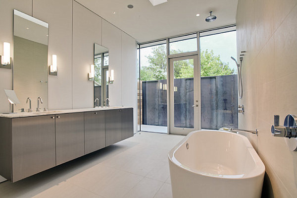 A white contemporary tub