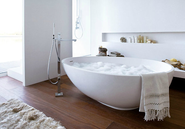 A white egg-shaped bathtub
