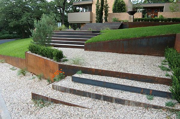 A xeriscaped garden path