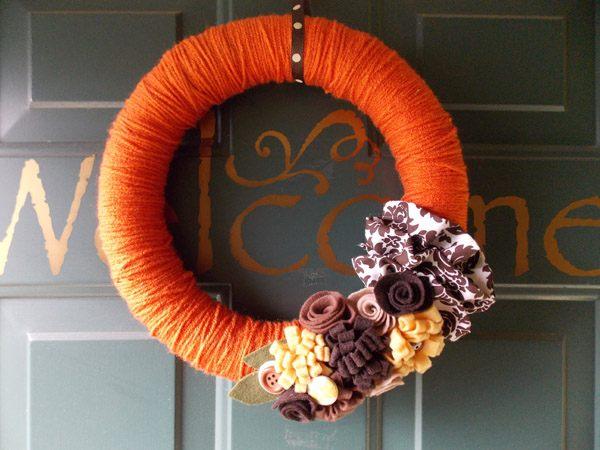 A yarn and felt fall wreath