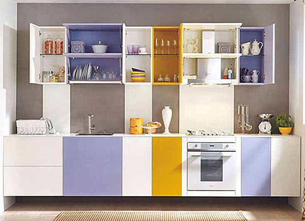 A yellow and lavender kitchen 12 Creative Kitchen Cabinet Ideas